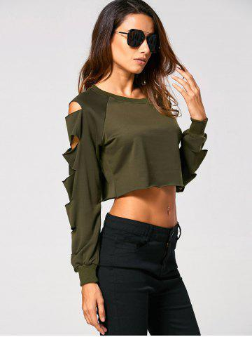 New Long Sleeve Ripped  Cropped Sweatshirt - XL ARMY GREEN Mobile