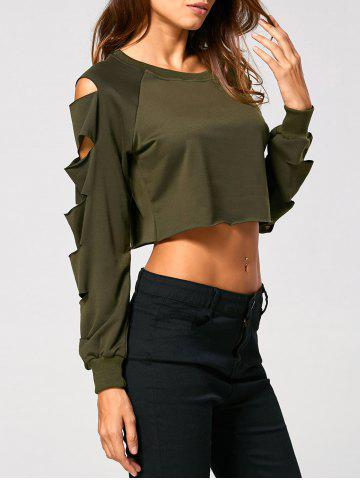 Store Long Sleeve Ripped  Cropped Sweatshirt - M ARMY GREEN Mobile