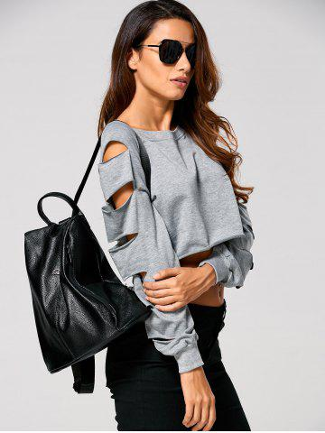 Latest Long Sleeve Ripped  Cropped Sweatshirt - XL GRAY Mobile