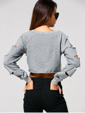 Outfits Long Sleeve Ripped  Cropped Sweatshirt - XL GRAY Mobile