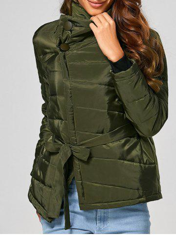 Sale Self Tie Asymmetric Short Padded Down Jacket - M ARMY GREEN Mobile