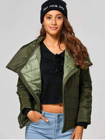 Trendy Self Tie Asymmetric Short Padded Down Jacket - M ARMY GREEN Mobile