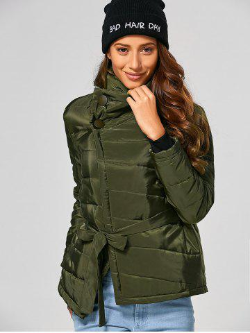 Fancy Self Tie Asymmetric Short Padded Down Jacket - M ARMY GREEN Mobile