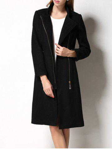 Outfits Slimming Wool Long Coat - M BLACK Mobile