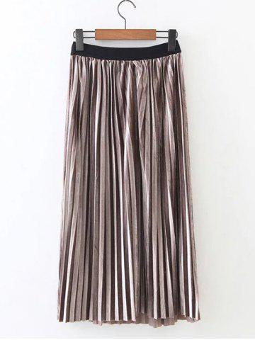 Outfit Retro Pleated Long Skirt - ONE SIZE KHAKI Mobile