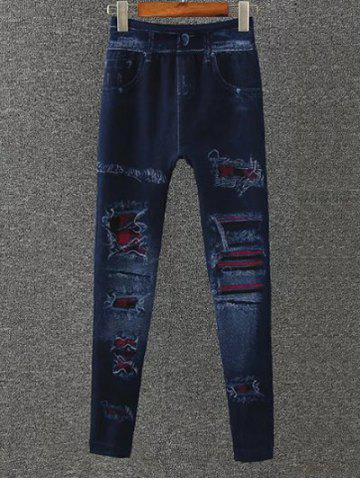 Affordable Totem Pattern Fleece Jeggings - ONE SIZE DEEP BLUE Mobile