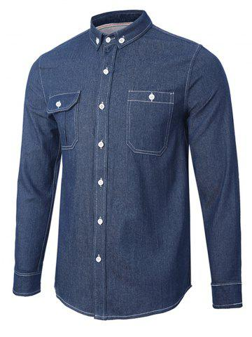 Shop Back Pleated Pocket Chambray Button Down Shirt - L ROYAL Mobile