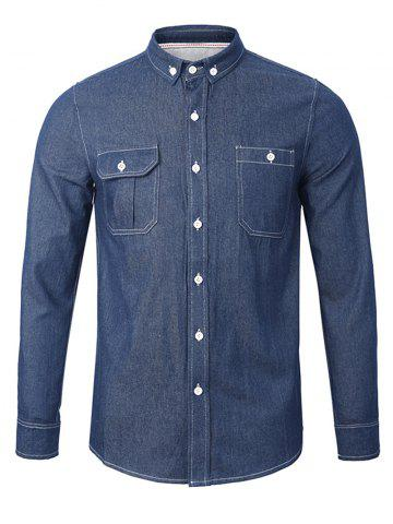 Discount Back Pleated Pocket Chambray Button Down Shirt - L ROYAL Mobile