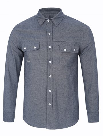 Fashion Long Sleeve Chest Pocket Button Up Shirt