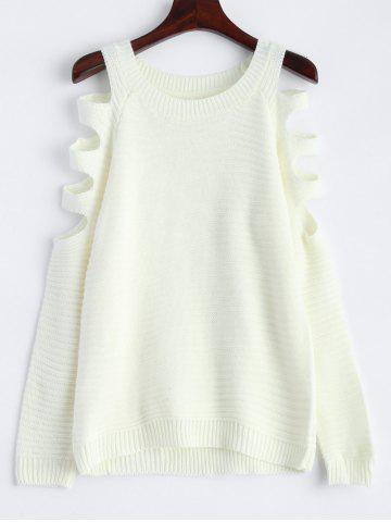 Sale Slim Knit Hollow Out Sweater - S WHITE Mobile