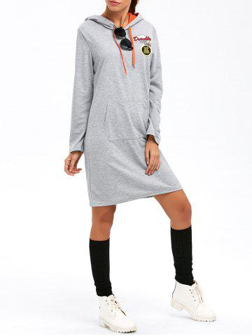 Unique Long Sleeve Applique Hooded Dress