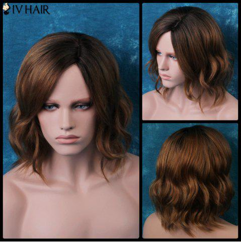 Fancy Siv Short Shaggy Side Parting Wavy Human Hair Wig COLORMIX