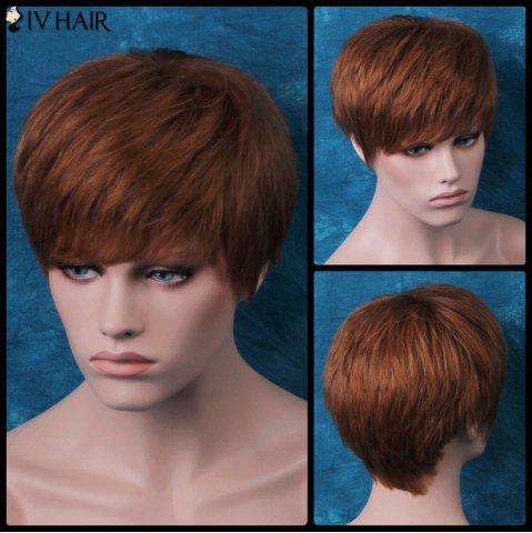 Buy Siv Layered Short Side Bang Glossy Straight Human Hair Wig