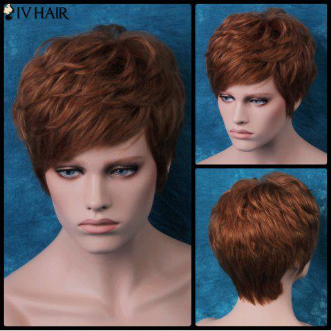 Fancy Siv Layered Short Side Bang Slightly Curled Human Hair Wig