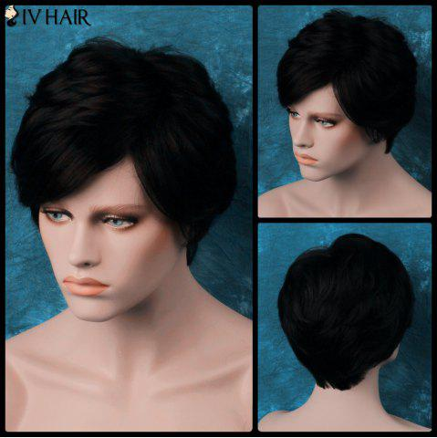 Discount Siv Layered Short Oblique Bang Straight Human Hair Wig JET BLACK