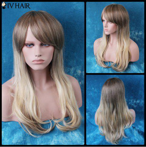 Discount Siv Long Colormix Oblique Bang Slightly Curled Human Hair Wig