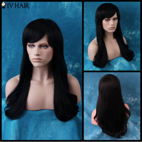 Latest Siv Long Oblique Bang Natural Straight Human Hair Wig