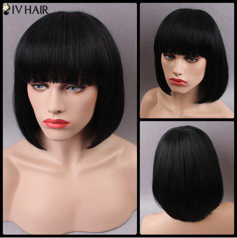 Shop Siv Short Shaggy Full Bang Straight Bob Human Hair Wig JET BLACK