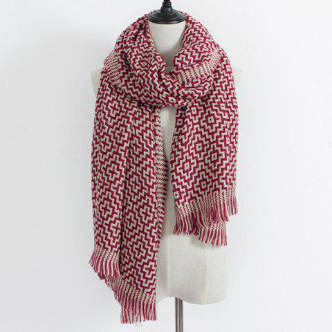 Cheap Winter Maze Pattern Knit Fringe Scarf