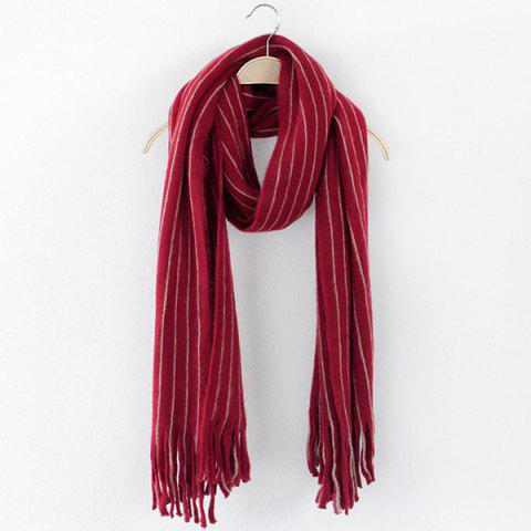 Affordable Winter Vertical Stripe Pattern Fringe Scarf