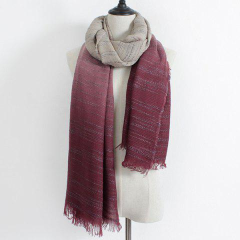 Online Winter Double Color Gradient Fringe Scarf WINE RED