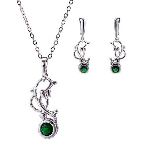 Outfits Dolphin Rhinestone Pendant Necklace Set