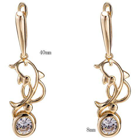 Store Hollow Out Dolphin Zircon Pendant Necklace Set - GOLDEN  Mobile