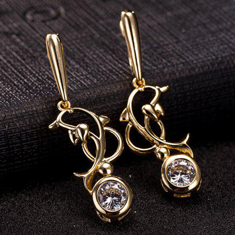 New Hollow Out Dolphin Zircon Pendant Necklace Set - GOLDEN  Mobile