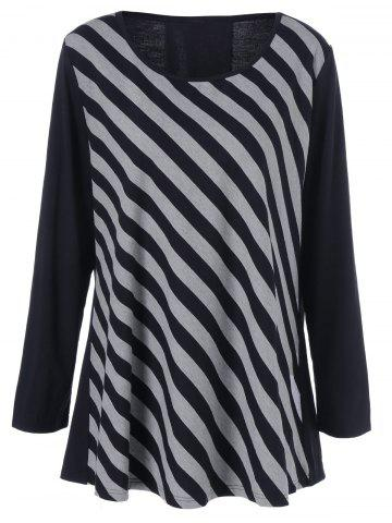 Sale Plus Size Striped Patchwork Tee