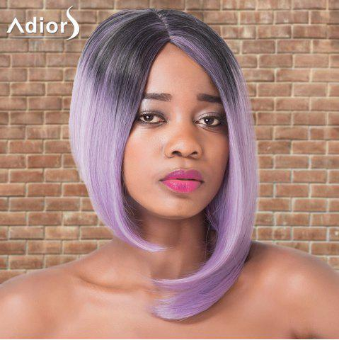 Latest Adiors Short Asymmetry Ombre Side Parting Straight Tail Adduction Cosplay Synthetic Wig