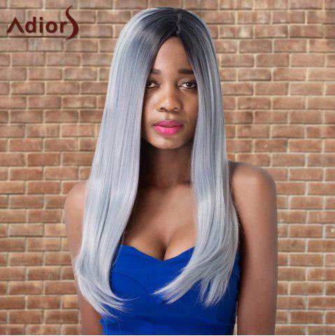 Unique Adiors Long Side Parting Silky Straight Ombre Cosplay Synthetic Wig MULTICO