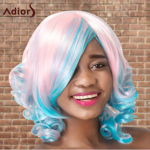 Fancy Adiors Medium Colormix Side Bang Curly Cosplay Synthetic Wig