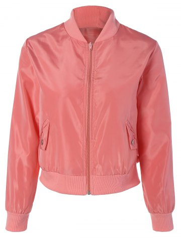 Fashion Stand Collar Zipper Fly Jacket