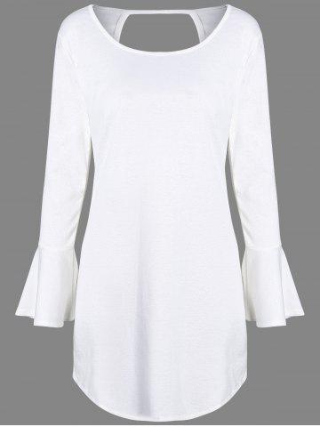 Shops Flare Long Sleeve Backless Tunic Dress WHITE XL