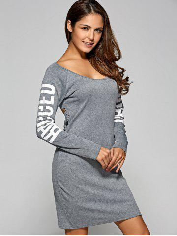 Unique Letter Ripped Backless Long Sleeve Tee Dress GRAY XL