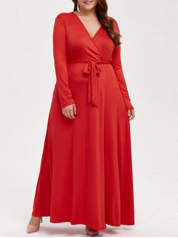 Fashion Plus Size Long Sleeve Wrap Maxi Prom Dress RED 3XL