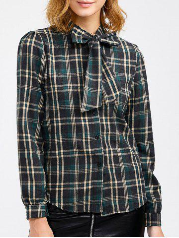 Cheap Plaid Pussy Bow Blouse GREEN ONE SIZE