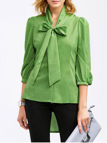 Pussy Bow High Low Hem Blouse - Green - L