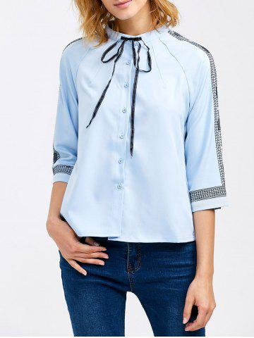 Fancy Chiffon Pussy Bow Embroidery Trim Blouse