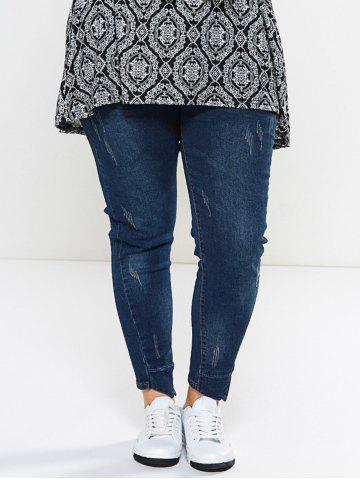 Outfit Dark Wash Panel Hemming Jeans