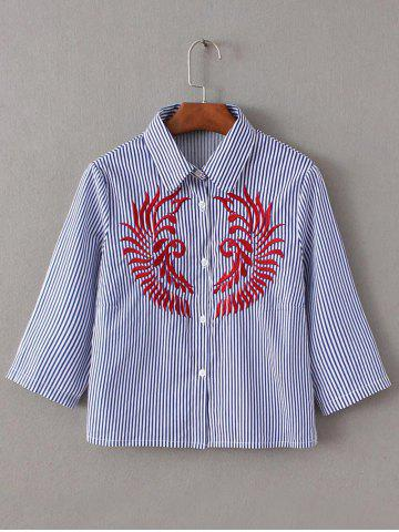 Outfit Embroidery Button Up Striped Shirt