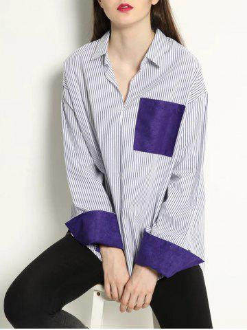 Cheap Patchwork Pullover Striped High Low Shirt