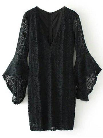 Trendy Mini Plunging Neckline Lace Dress