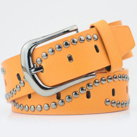 Ardillon Wavy Rivets PU Ceinture large Orange Jaune