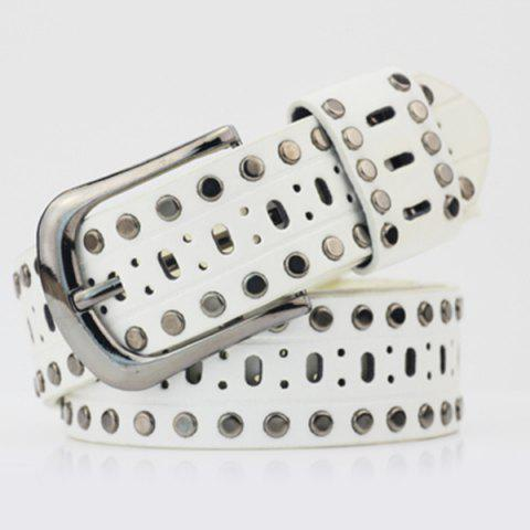 Discount Pin Buckle Hollow Out Hole PU Studded Waist Belt