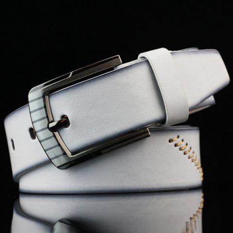 Fashion Pin Buckle Sewing Thread Wide Casual Belt WHITE