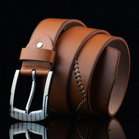 Online Pin Buckle Sewing Thread Wide Casual Belt - BROWN  Mobile