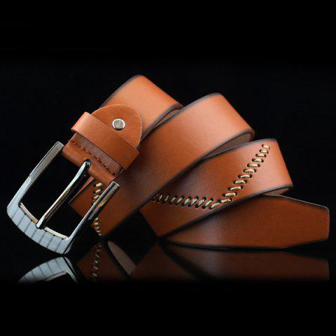 Trendy Pin Buckle Sewing Thread Wide Casual Belt - BROWN  Mobile