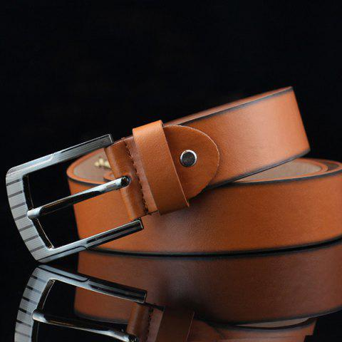 Shop Pin Buckle Sewing Thread Wide Casual Belt - BROWN  Mobile