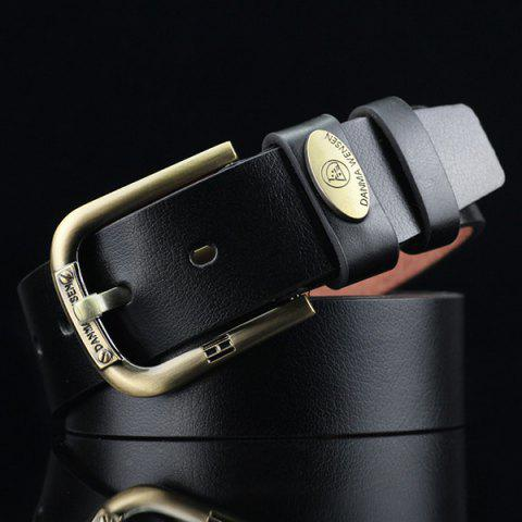 New Oval Alloy Label Pin Buckle PU Wide Belt